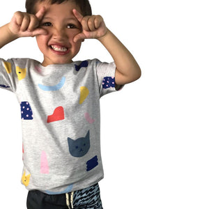 Kitty Verse Grey Marle Kids Tee