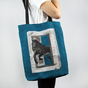 Tote Bag Large Ink Blue Horse Wax