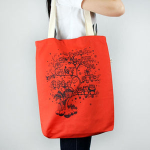 Tote bag Large Red Owl Tree