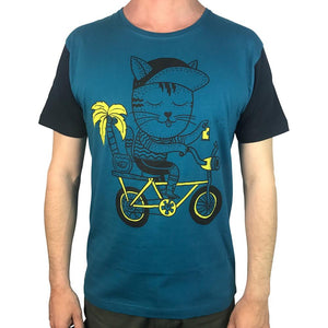 Cat Biking Coral Blue Mens Tee