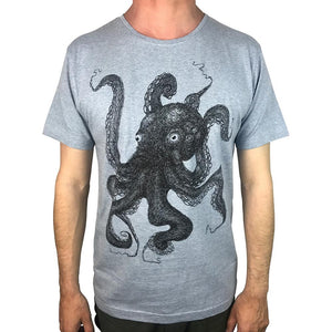 Octopus Lines Blue Marle Mens Tee
