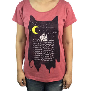 Pirate Owl Red Marle Womens Tee