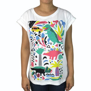 Jurassic Party White Womens Tee