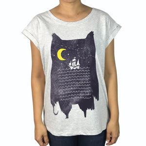 Pirate Owl Grey Marle Womens Tee