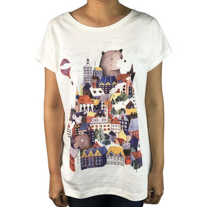 House Stack Offwhite womens tee