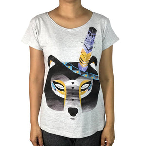 Boho Bear Grey Marle Womens Tee