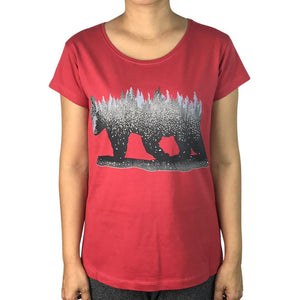 Forest Bear Brick Red Womens Tee