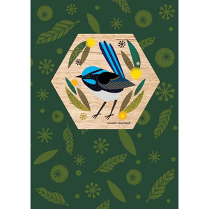 Natalie Marshall: Wood Magnet Card Fairy Wren