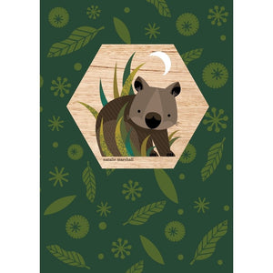 Natalie Marshall: Wood Magnet Card Wombat