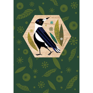 Natalie Marshall: Wood Magnet Card Magpie