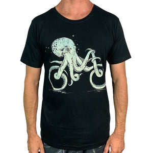 Octopus Bike Charcoal Mens Tee