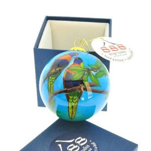 Triple 8 Design: Hand-painted Glass Bauble Rainbow Lorikeets (Blue Background)