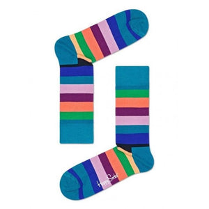 Happy Socks: Stripe Teal Purple Multi ML