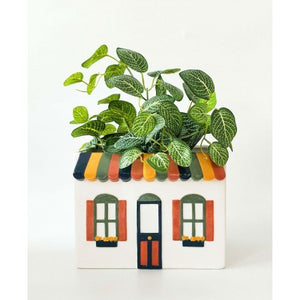 Retro House Planter White Medium