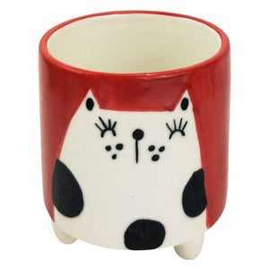 Urban Products: Quirky Cat Planter with Legs Red & White