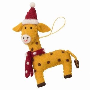 African Animals Christmas Ornament Giraffe Scarf Hat