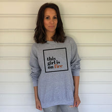 This girl is on fire Grey Heavy Blend Sweatshirt (Lifestyle)