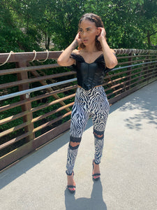 Lucy Lace Cutout Zebra Leggings