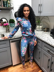 Floral Ruffle Sleeve Tracksuit