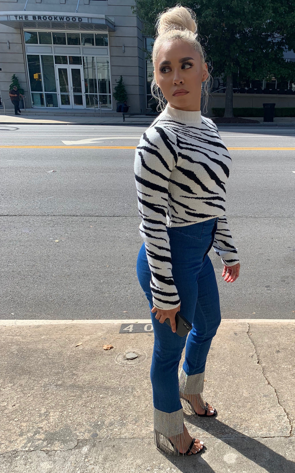 Cropped Knitted Zebra Sweater