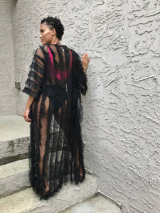 Pleated Long Mesh Duster