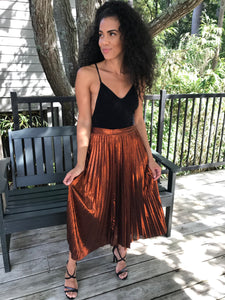 Pleated Bronze Metallic Skirt
