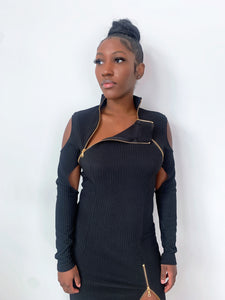 Noir Zina Zip-up Ribbed Bodycon Dress