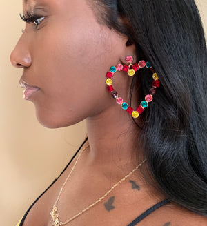 Multi Heart Studded Earrings