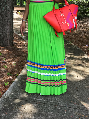 Evadney Lime Green Pleated Skirt