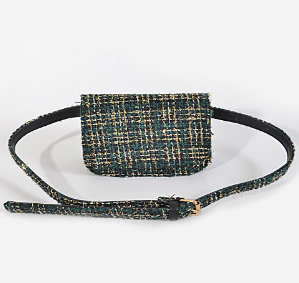 Forest Green Tweed Belt Bag and Crossbody