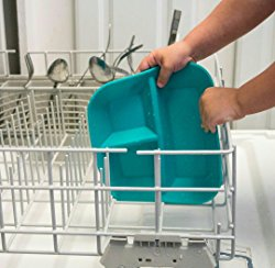 teal plate in a dishwasher