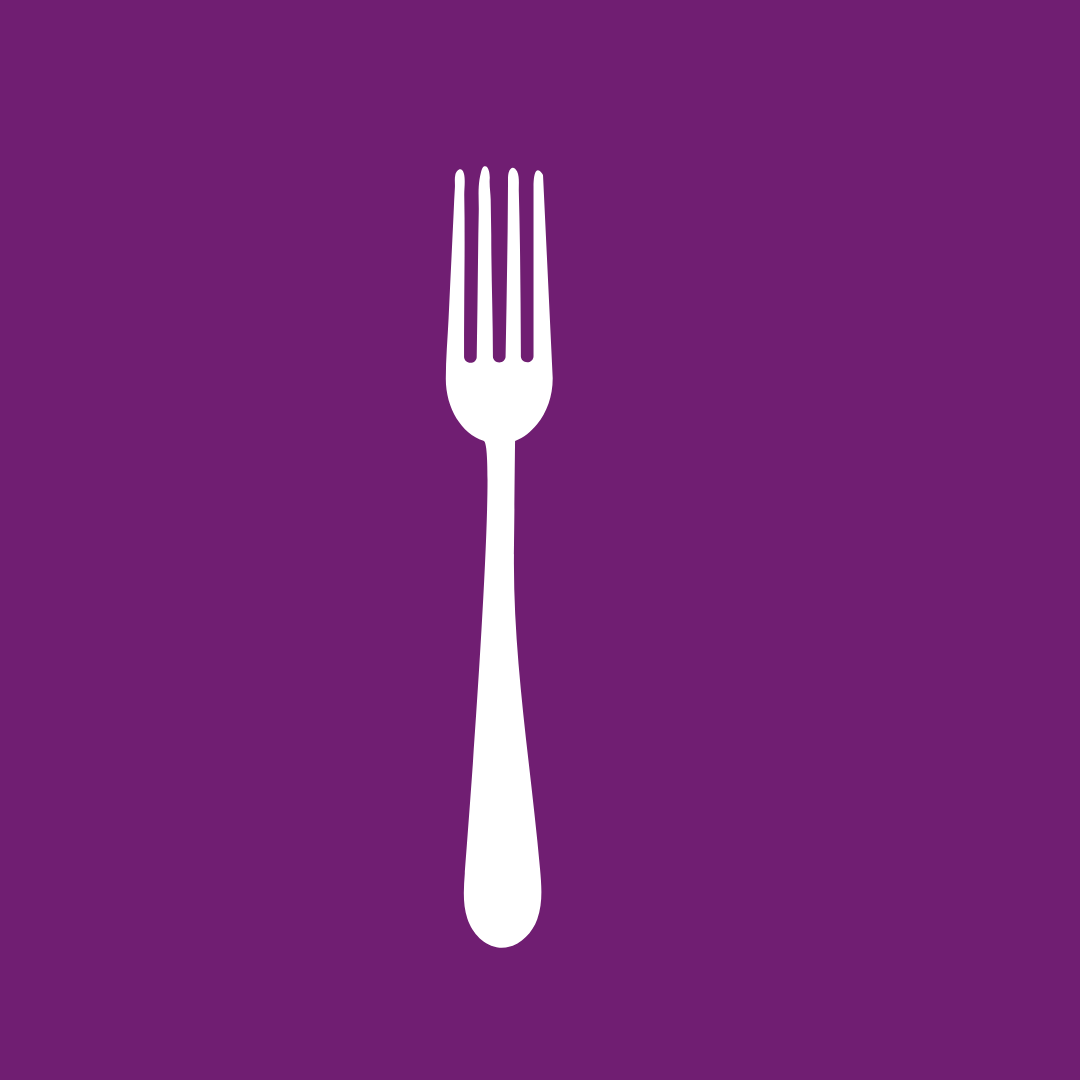 white fork on purple background