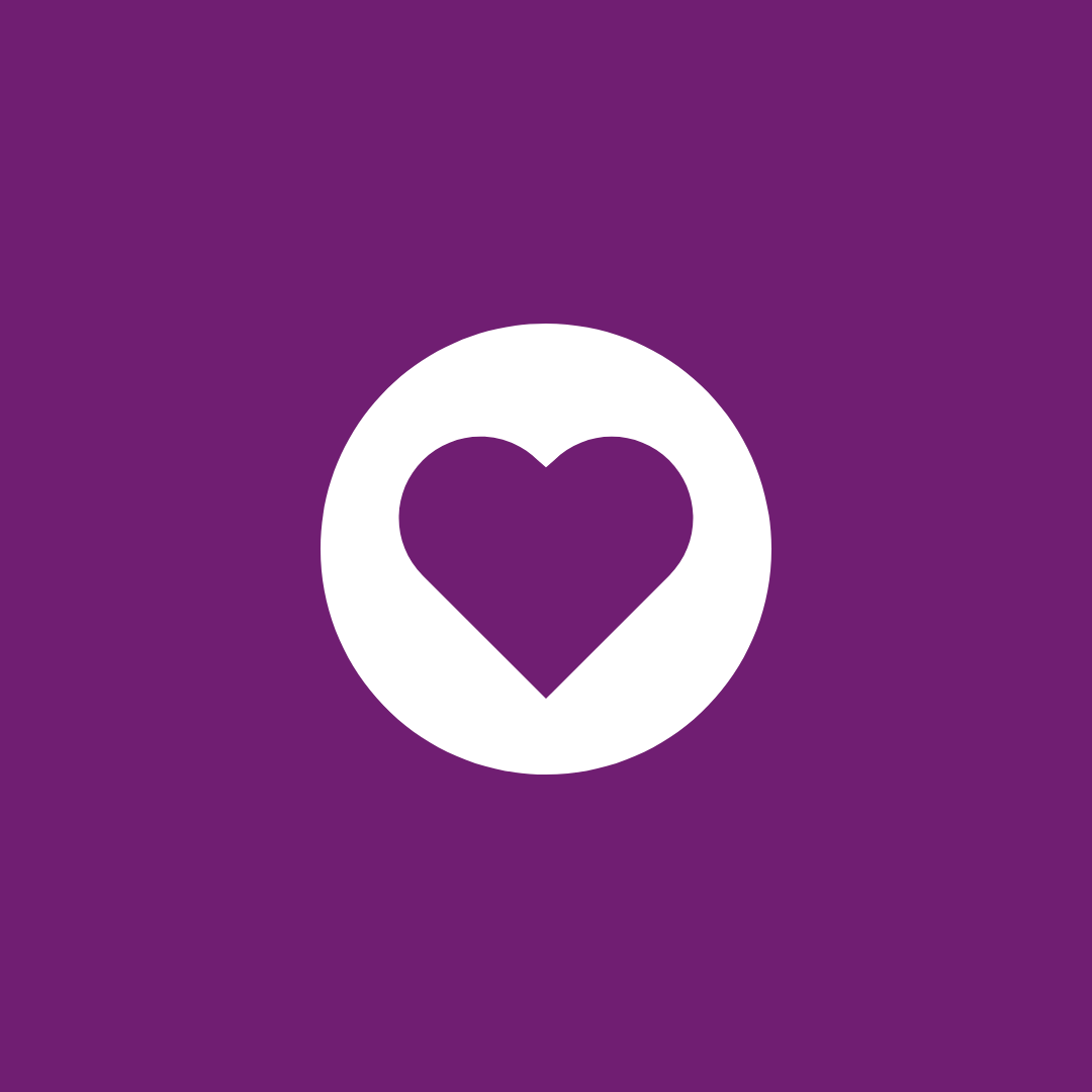purple heart in a white circle on a purple background