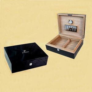 COHIBA Exquisite Luxury Mirage Black Large Capacity Cedar Wood Cigar Humidor - Richard Cutters - Cigar Accessories