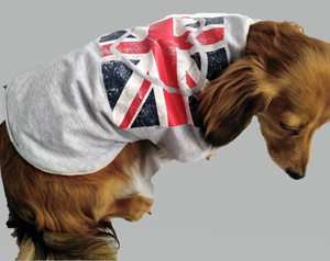 "UNION JACK Love Heart dog coat - Small 14"" waterproof - Personalised FREE"