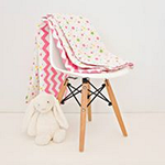 Pink Chevron Cotton Cot Quilt