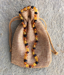 Baltic Amber Necklace with calico bag