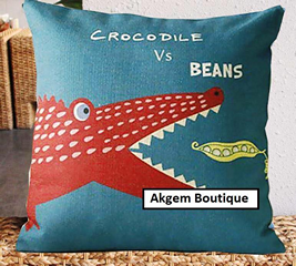 Crocodile vs Beans Cushion cover with Zipper