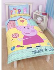 Peppa Pig Sunshine and Smiles Reversible Single Bed Doona set