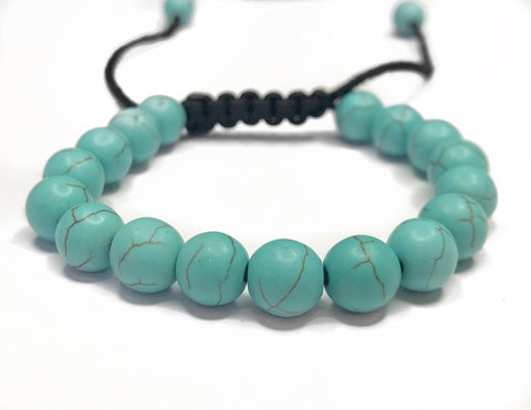 Shamballa Bracelet - smooth aqua patterned beads