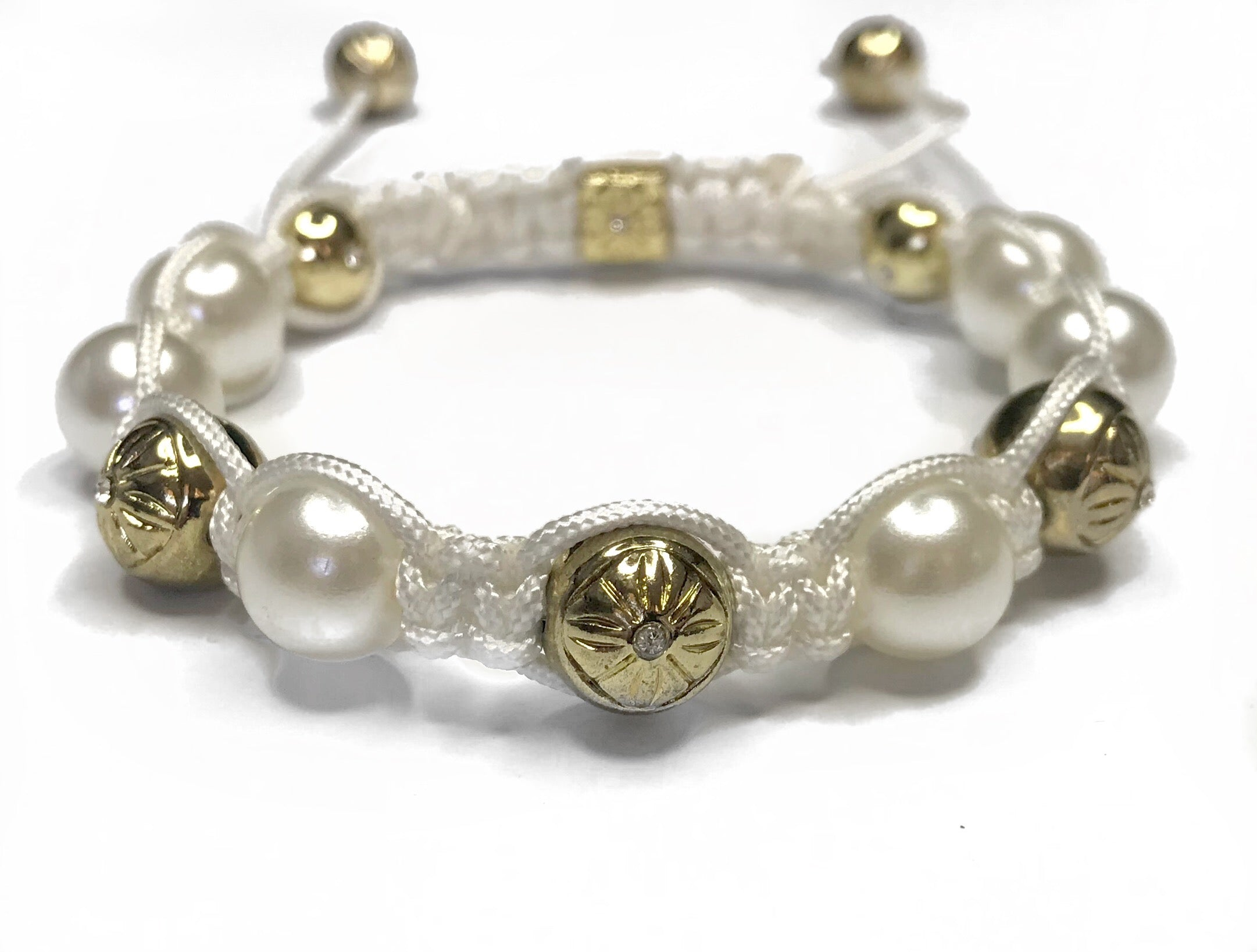 Shamballa Bracelet - White and Gold