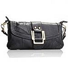 Akgem Black Leather Clutch Bag