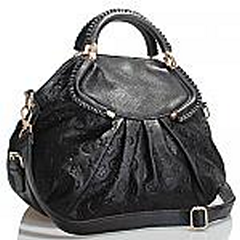 Akgem Black Leather Flower Printed Hand Bag