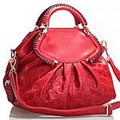 Akgem Red Leather Flower Printed Hand Bag