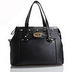 Akgem Black Leather Handbag