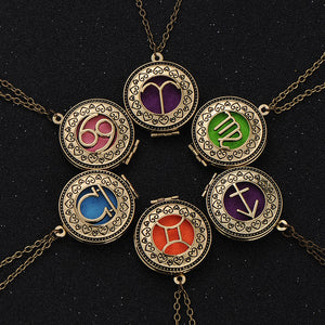 Zodiac Sign & Essential Oil Locket Necklace
