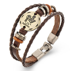 Braided Leather Zodiac Sign Bracelet