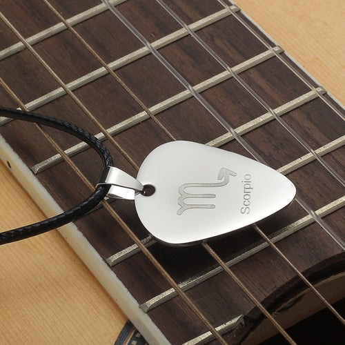 Guitar Pick Zodiac Sign Necklace