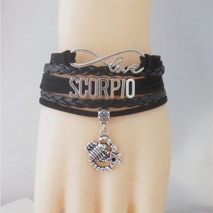 Infinity Love Zodiac Sign Leather Bracelet