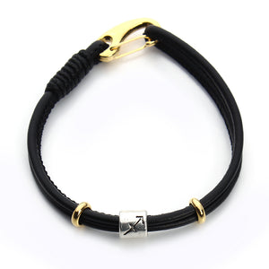 Men's Handmade Leather Zodiac Bracelet